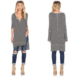 We The Free People Gwen Striped Henley Tunic Top
